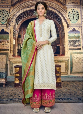 Rose Pink and White Embroidered Work Palazzo Style Pakistani Salwar Suit