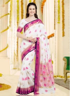 Rose Pink and White Thread Work Banarasi Silk Trendy Classic Saree