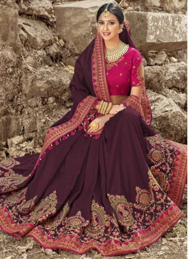 Rose Pink and Wine Satin Silk Designer Contemporary Style Saree