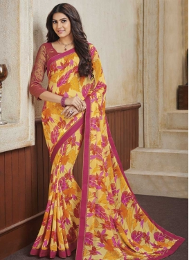 Rose Pink and Yellow Designer Contemporary Saree