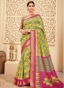 Rose Pink and Yellow Print Work Contemporary Saree