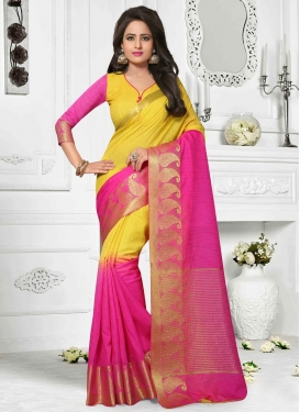 Rose Pink and Yellow Resham Work Contemporary Style Saree
