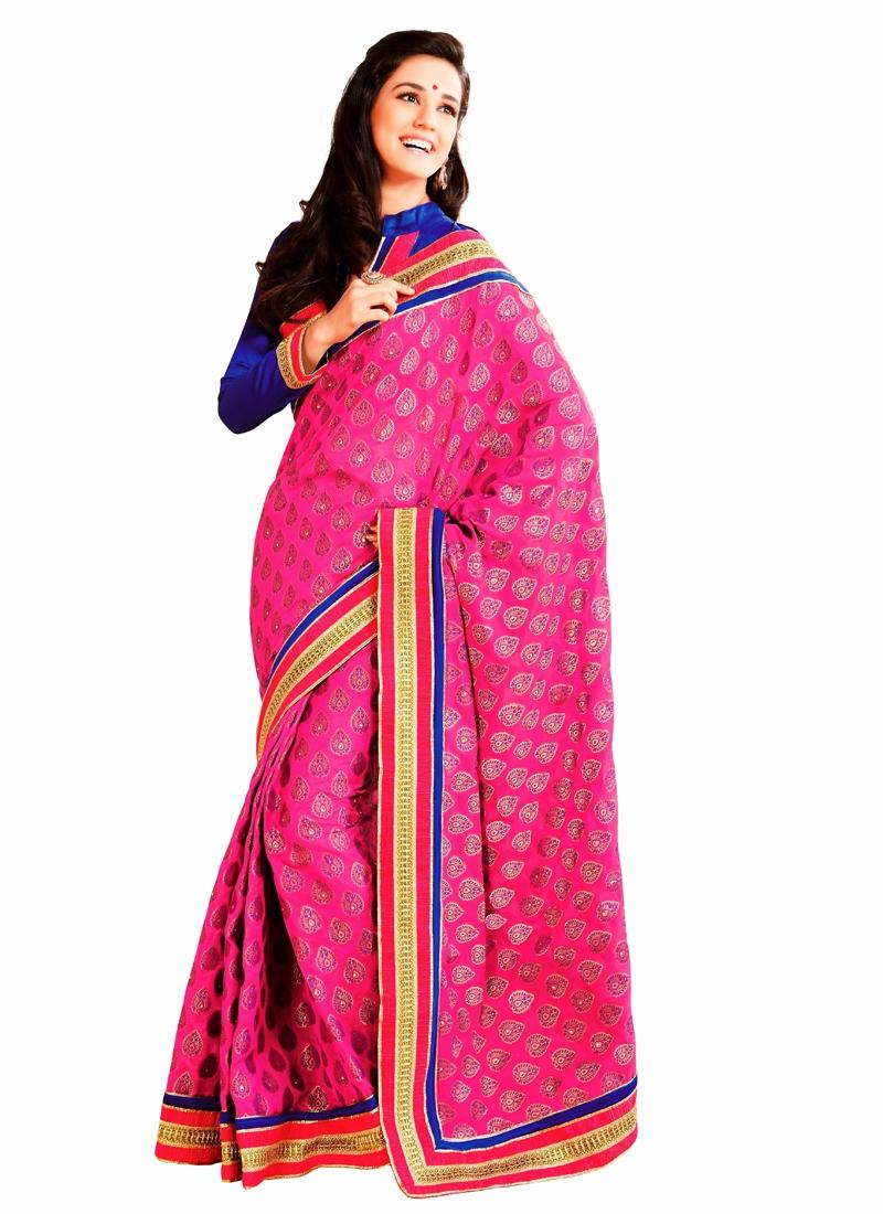 Rose Pink Color Banarasi Silk Party Wear Saree