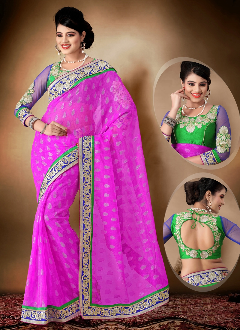 Rose Pink Color Lace Work Party Wear Saree