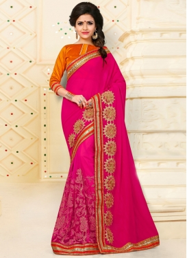 Rose Pink Embroidered Work Designer Classic Saree