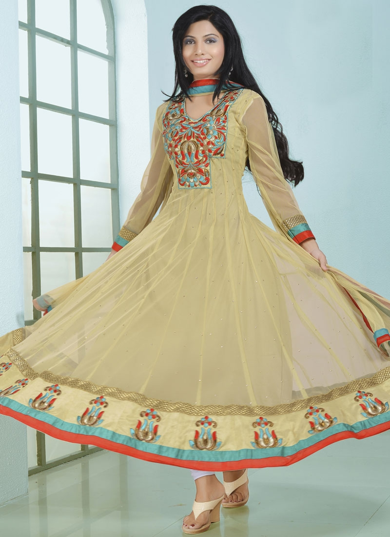 Royal Beige Color Stone Work Anarkali Salwar Kameez