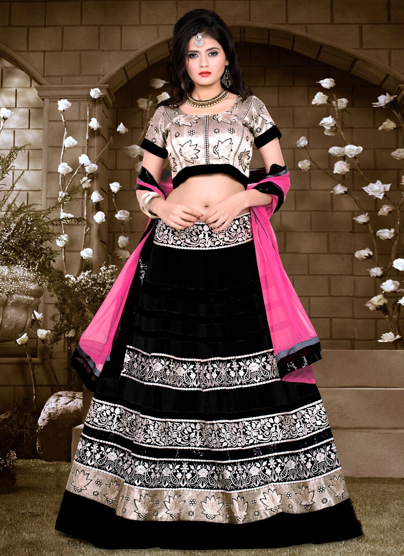 Royal Black Color Net Designer Lehenga Choli