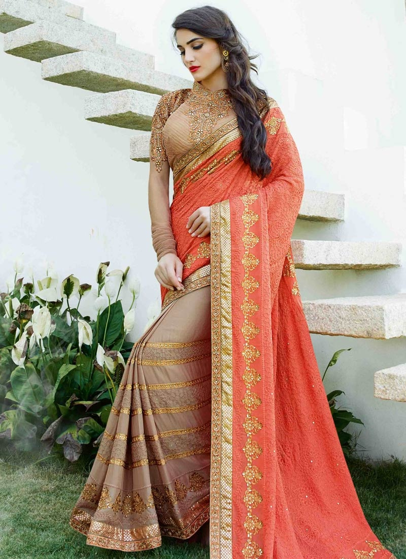 Royal Chicken And Lace Work Half N Half Wedding Saree