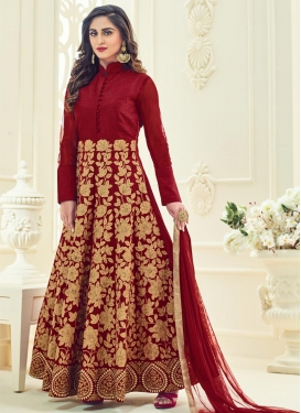 Royal  Embroidered Work Long Length Anarkali Salwar Suit