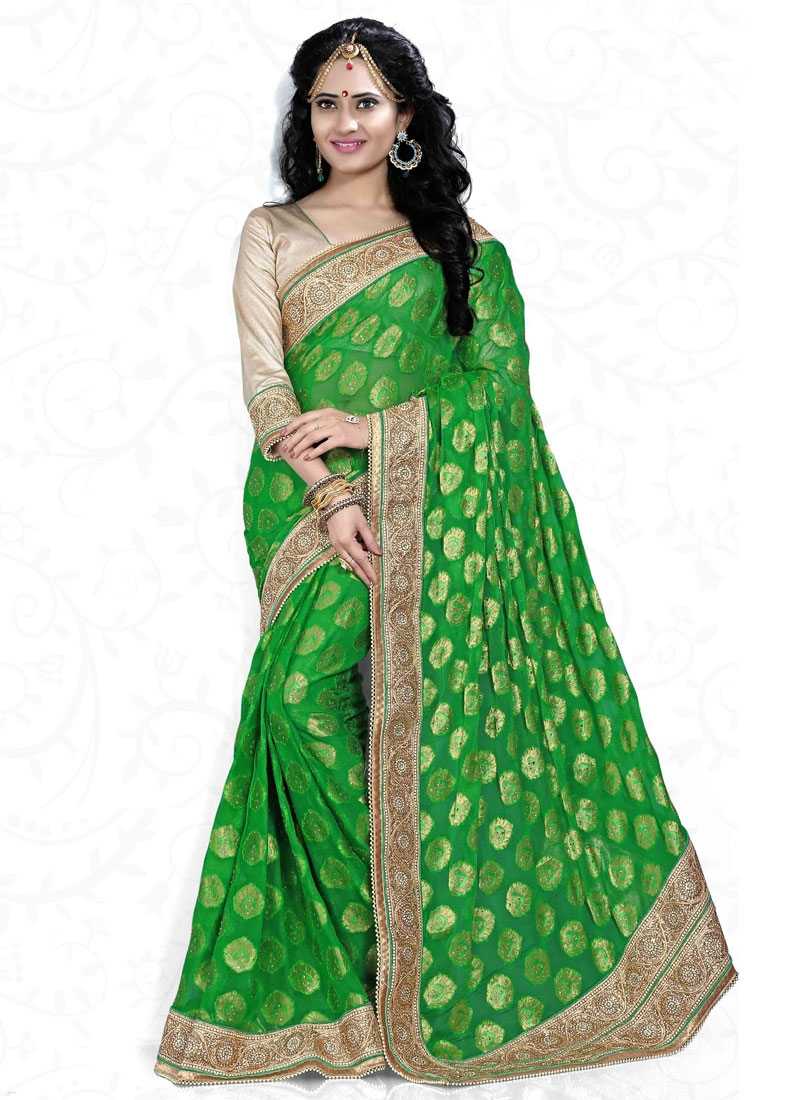 Royal Green Color Georgette Wedding Saree