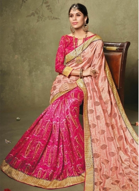 Royal Peach and Rose Pink Half N Half Trendy Saree