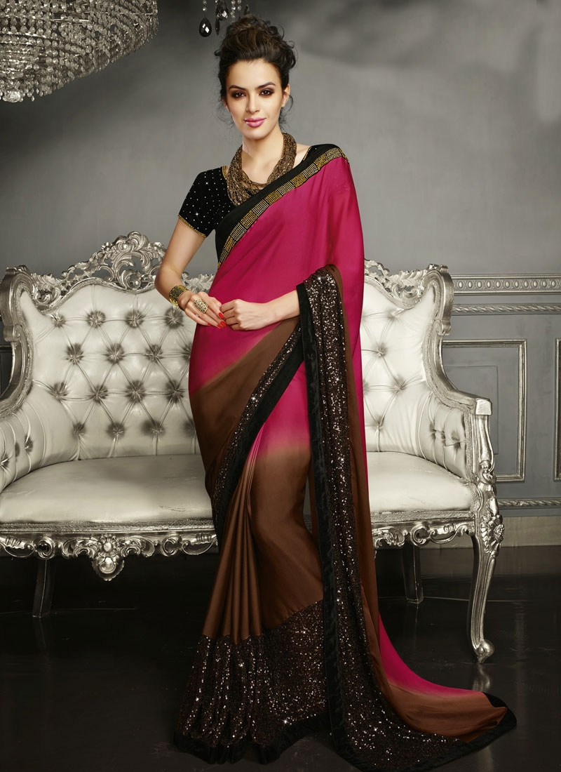 Royal Sequins And Lace Work Wedding Saree