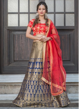 Ruritanian Beads Work Navy Blue and Red Lehenga Choli