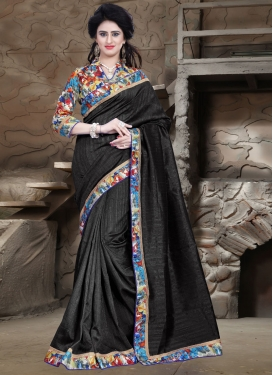 Ruritanian Black Color Bhagalpuri Silk Casual Saree