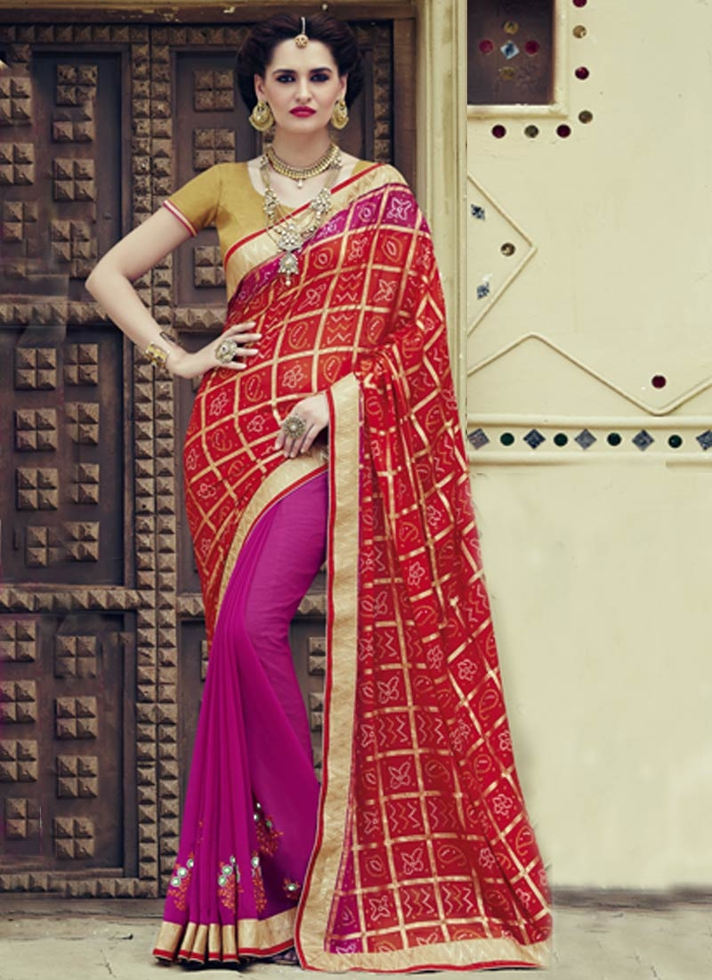Ruritanian Booti And Mirror Work Half N Half Party Wear Saree