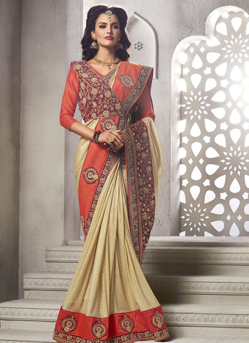 Ruritanian Booti Work Cream Color Designer Saree
