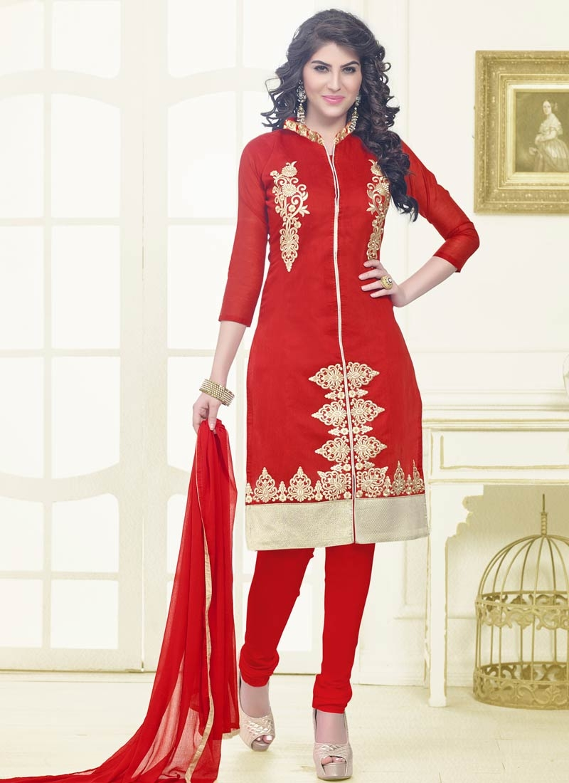 Ruritanian Booti Work Red Color Casual Salwar Kameez