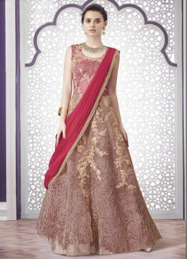 Ruritanian  Chicken Work Net Beige and Salmon Kameez Style Lehenga Choli