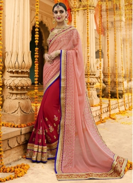 Ruritanian Crimson and Peach  Faux Chiffon Half N Half Saree