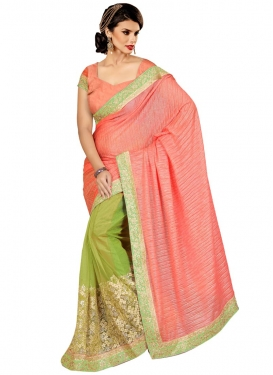 Ruritanian Crush Embroidery Work Half N Half Designer Saree