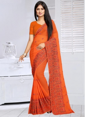 Ruritanian Embroidered Work Faux Georgette Traditional Saree