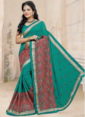 Ruritanian Embroidered Work Faux Georgette Trendy Classic Saree For Ceremonial