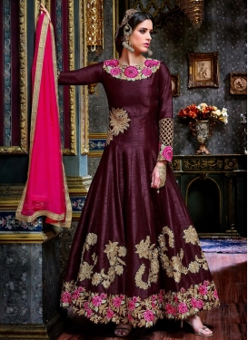 Ruritanian Embroidered Work Tafeta Silk Long Length Anarkali Salwar Suit For Festival