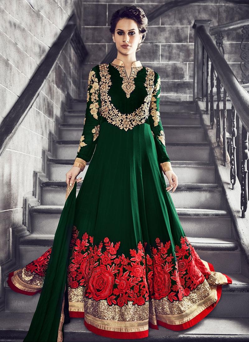 Ruritanian Embroidery Work Floor Length Wedding Salwar Kameez