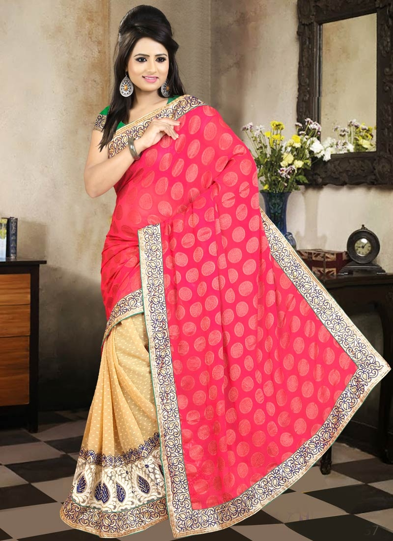 Ruritanian Faux Georgette Half N Half Party Wear Saree