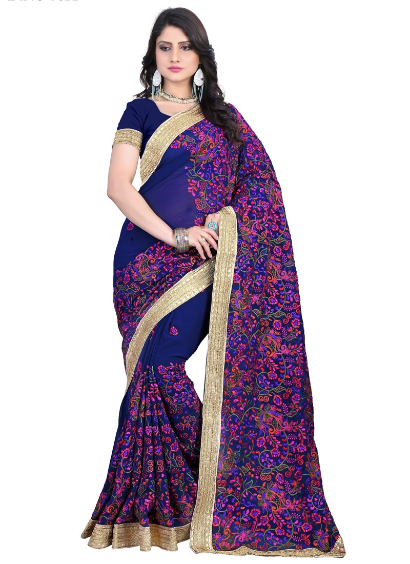 Ruritanian Faux Georgette Wedding Saree