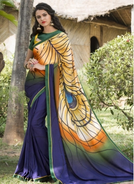 Ruritanian Green and Navy Blue Trendy Saree For Ceremonial