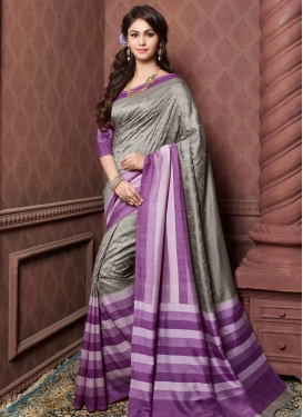 Ruritanian Grey And Purple Color Party Wear Saree