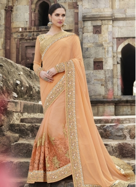 Ruritanian Lace Work Pure Georgette Wedding Saree
