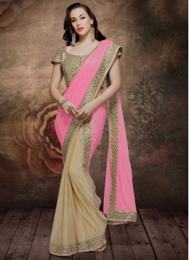 Ruritanian Mirror And Stone Work Half N Half Designer Saree