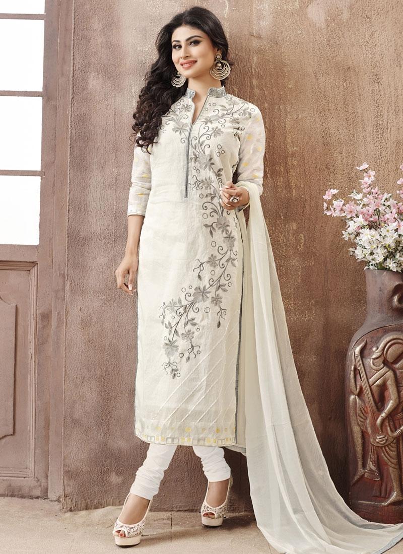 Ruritanian Off White Color Mouni Roy Party Wear Salwar Suit