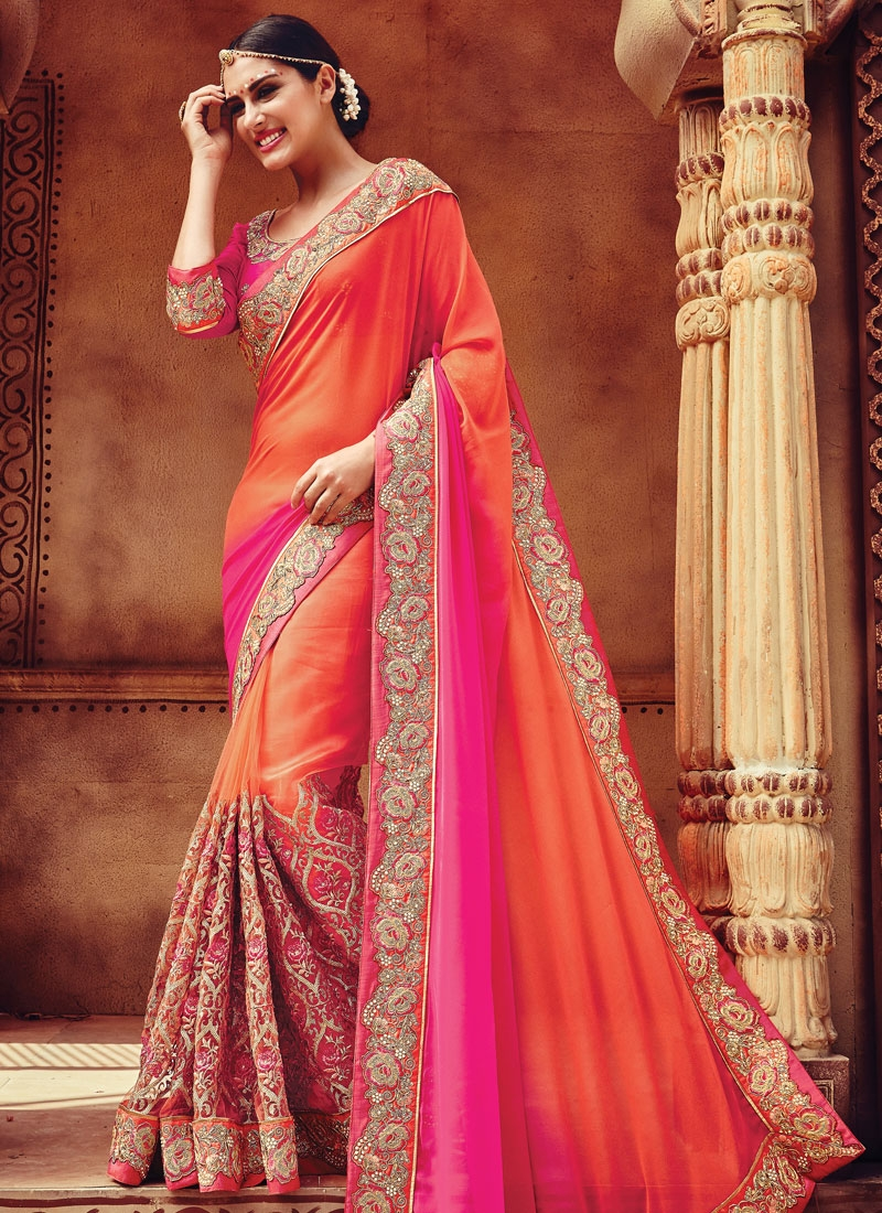 Ruritanian Sequins Work Net Bridal Saree