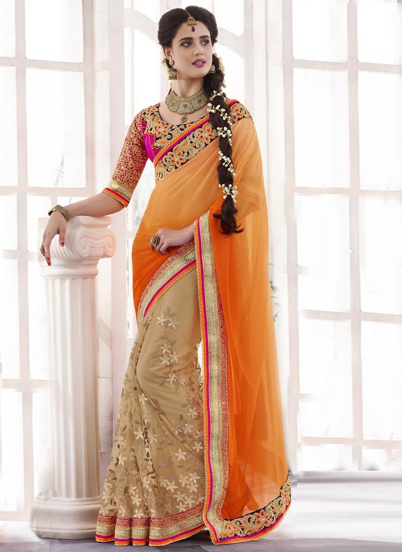 Ruritanian Sequins Work Net Half N Half Wedding Saree