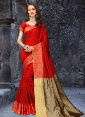 Ruritanian Thread Work Banarasi Silk Contemporary Saree