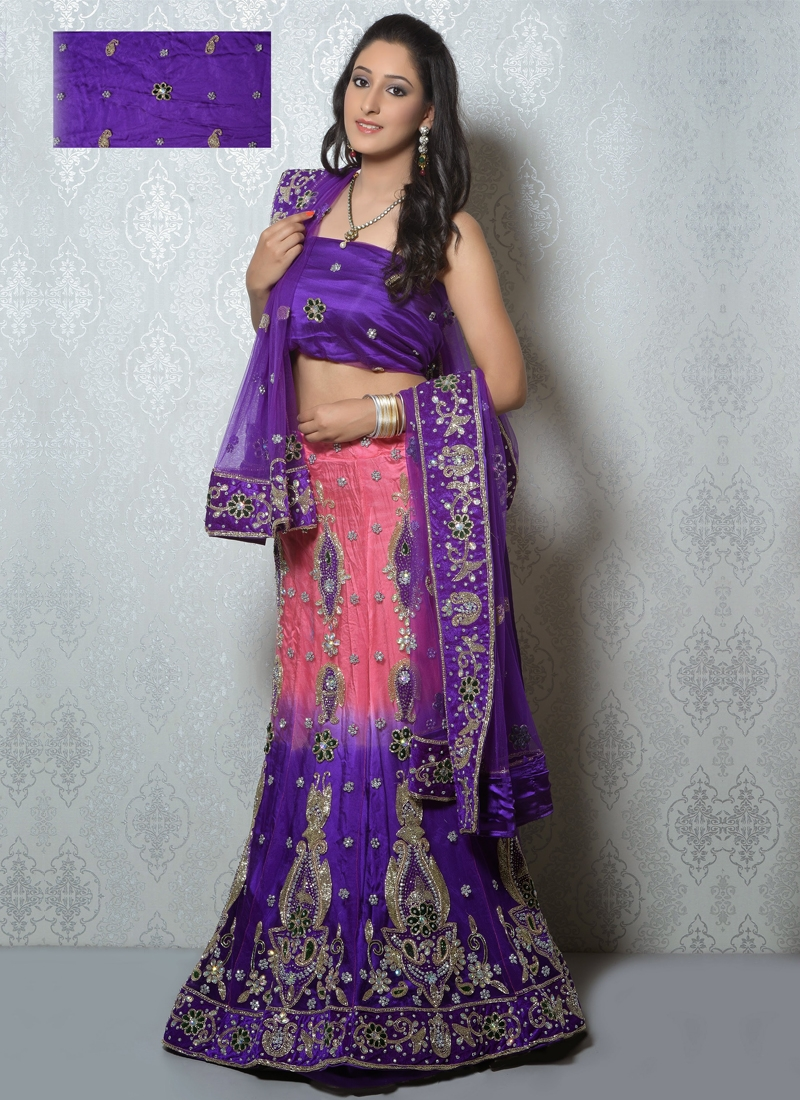 Salmon And Purple Color Designer Lehenga Choli