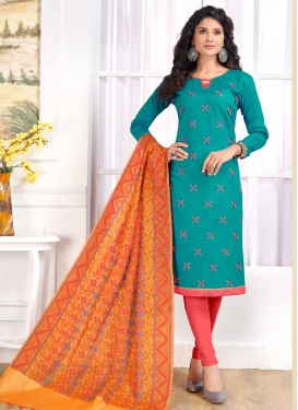 Salmon and Teal Trendy Straight Suit