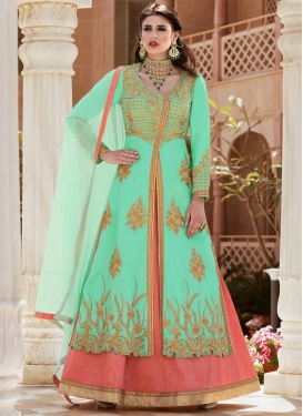 Salmon and Turquoise Banglori Silk Designer Kameez Style Lehenga Choli