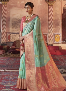 Salmon and Turquoise Trendy Saree