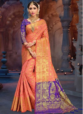 Salmon and Violet Trendy Saree For Festival