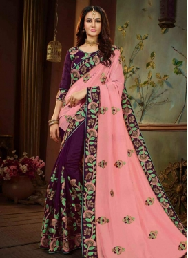 Salmon and Wine Embroidered Work Contemporary Saree
