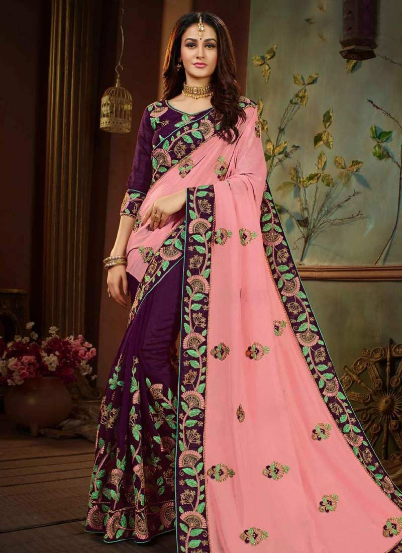 1e604b8835a40b Buy Salmon and Wine Embroidered Work Contemporary Saree Online