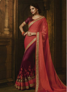 Salmon and Wine Embroidered Work Half N Half Saree