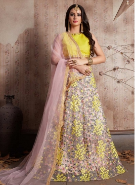 Salmon and Yellow Designer Classic Lehenga Choli For Ceremonial