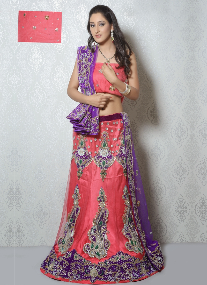 Salmon Color Patch Work Net Wedding Lehenga Choli