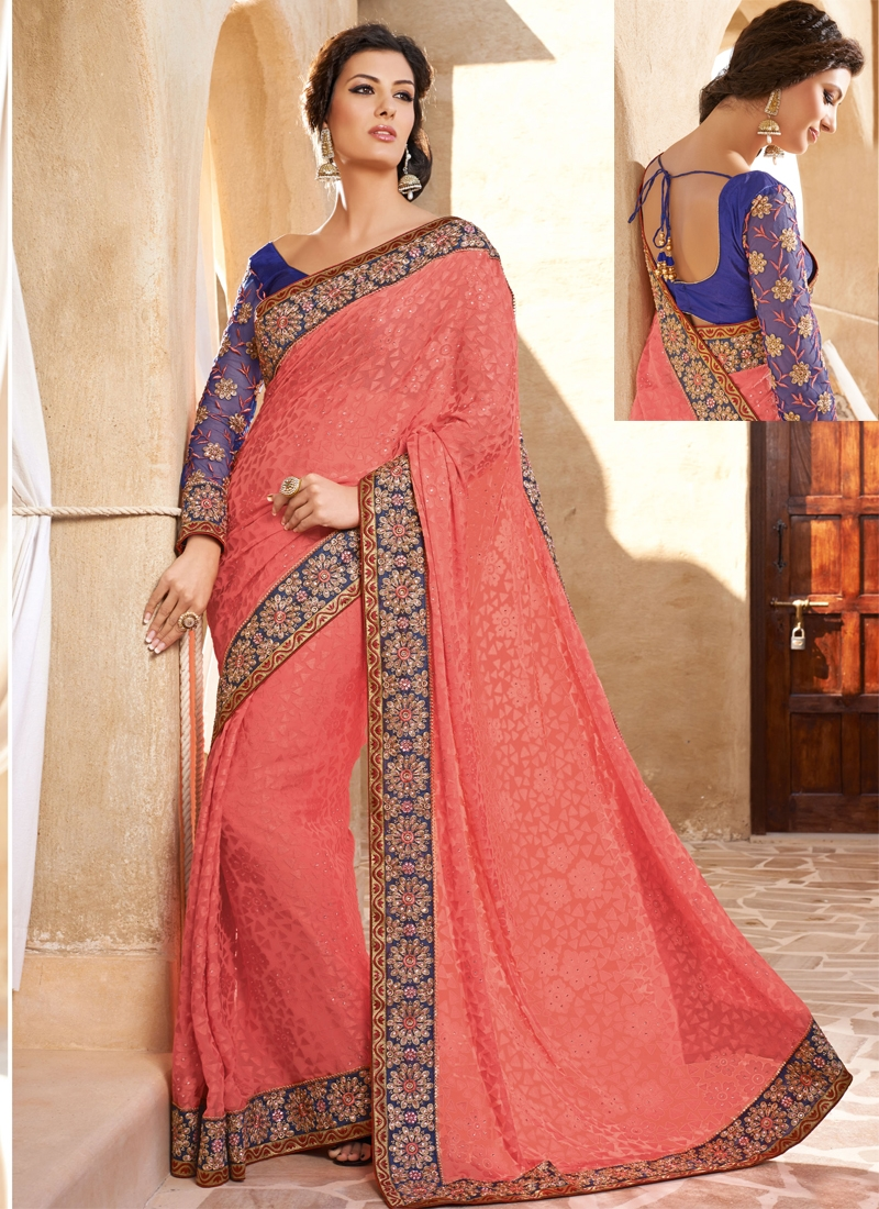 Salmon Color Resham Work Party Wear Saree