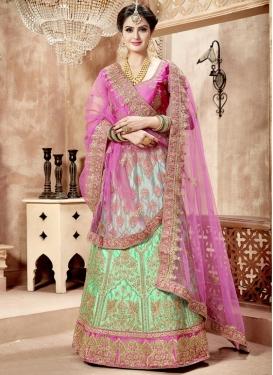 Satin A Line Lehenga Choli For Bridal